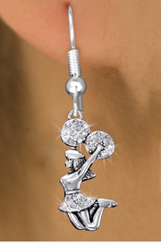 <bR>               EXCLUSIVELY OURS!! <Br>          AN ALLAN ROBIN DESIGN!! <BR>    LEAD, NICKEL & CADMIUM FREE!! <BR> W1409SE - SILVER TONE AND CRYSTAL <BR> JUMPING CHEERLEADER CHARM EARRINGS <BR>       FROM $4.95 TO $10.00 �2013