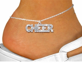 "<bR>                 EXCLUSIVELY OURS!! <BR>            AN ALLAN ROBIN DESIGN!! <BR>      LEAD, NICKEL & CADMIUM FREE!! <BR> W1410SAK - SILVER TONE AND CRYSTAL <BR>      ""CHEER"" WORD CHARM AND ANKLET <Br>          FROM $5.40 TO $9.85 �2013"