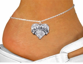 "<bR>                  EXCLUSIVELY OURS!! <BR>             AN ALLAN ROBIN DESIGN!! <BR>       LEAD, NICKEL & CADMIUM FREE!! <BR>  W1412SAK - SILVER TONE ""CHEER MOM"" <BR> CLEAR CRYSTAL HEART CHARM AND ANKLET <Br>           FROM $5.40 TO $9.85 �2013"