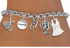 <Br>              EXCLUSIVELY OURS!!<Br>        AN ALLAN ROBIN DESIGN!!<Br>             LEAD & NICKEL FREE!! <BR>THIS IS A PERSONALIZED ITEM <Br>W19400B - SILVER TONE TENNIS <BR>     THEMED SIX CHARM BRACELET <BR>    WITH PERSONALIZED INITIALS <BR>     FROM $8.44 TO $18.75  �2012