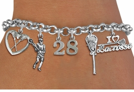 <Br>              EXCLUSIVELY OURS!!<Br>        AN ALLAN ROBIN DESIGN!!<Br>             LEAD & NICKEL FREE!! <BR>THIS IS A PERSONALIZED ITEM <Br>W19404B - SILVER TONE LACROSSE <BR>     THEMED FIVE CHARM BRACELET <BR> WITH PERSONALIZED TEAM NUMBER <BR>     FROM $8.44 TO $18.75  �2012