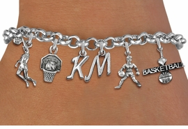 <Br>              EXCLUSIVELY OURS!!<Br>        AN ALLAN ROBIN DESIGN!!<Br>             LEAD & NICKEL FREE!! <BR>        THIS IS A PERSONALIZED ITEM <Br>W19407B - SILVER TONE BASKETBALL <BR>     THEMED FIVE CHARM BRACELET <BR>    WITH PERSONALIZED INITIALS <BR>     FROM $8.44 TO $18.75  �2012