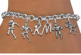 <Br>              EXCLUSIVELY OURS!!<Br>        AN ALLAN ROBIN DESIGN!!<Br>             LEAD & NICKEL FREE!! <BR>THIS IS A PERSONALIZED ITEM <Br>W19416B - SILVER TONE FOOTBALL <BR>     THEMED FIVE CHARM BRACELET <BR>    WITH PERSONALIZED INITIALS <BR>     FROM $8.44 TO $18.75  �2012