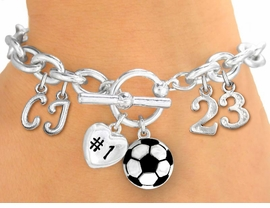 <Br>              EXCLUSIVELY OURS!!<Br>        AN ALLAN ROBIN DESIGN!!<Br>             LEAD & NICKEL FREE!! <BR>THIS IS A PERSONALIZED ITEM <Br>W19423B - SILVER TONE SOCCER<BR>THEMED CHARM BRACELET WITH <BR>YOUR TEAM NUMBER AND INITIALS <BR>    FROM $8.10 TO $18.00 �2012