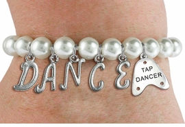 "<Br>              EXCLUSIVELY OURS!!<Br>        AN ALLAN ROBIN DESIGN!!<Br>             LEAD & NICKEL FREE!! <BR>        THIS IS A PERSONALIZED ITEM <Br>W19520B - 8MM WHITE PEARL ""DANCE"" <BR>""TAP DANCER"" THEMED CHARM BRACELET  <BR>     FROM $9.00 TO $20.00  �2012"