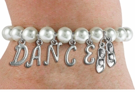 "<Br>              EXCLUSIVELY OURS!!<Br>        AN ALLAN ROBIN DESIGN!!<Br>             LEAD & NICKEL FREE!! <BR>        THIS IS A PERSONALIZED ITEM <Br>W19521B - 8MM WHITE PEARL ""DANCE"" <BR>TAP SHOES THEMED CHARM BRACELET  <BR>     FROM $9.00 TO $20.00  �2012"