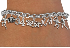 <Br>              EXCLUSIVELY OURS!!<Br>        AN ALLAN ROBIN DESIGN!!<Br>             LEAD & NICKEL FREE!! <BR>THIS IS A PERSONALIZED ITEM <Br>W19556B - SILVER TONE FOOTBALL <BR>THEMED FIVE CHARM BRACELET WITH <BR>YOUR TEAM NUMBER AND INITIALS <BR>    FROM $14.96 TO $26.25  �2012