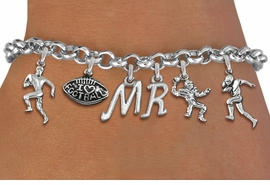<Br>              EXCLUSIVELY OURS!!<Br>        AN ALLAN ROBIN DESIGN!!<Br>             LEAD & NICKEL FREE!! <BR>THIS IS A PERSONALIZED ITEM <Br>W19559B - SILVER TONE FOOTBALL <BR>     THEMED SIX CHARM BRACELET <BR>    WITH PERSONALIZED INITIALS <BR>     FROM $8.44 TO $18.75  �2012
