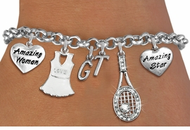 <Br>              EXCLUSIVELY OURS!!<Br>        AN ALLAN ROBIN DESIGN!!<Br>             LEAD & NICKEL FREE!! <BR>THIS IS A PERSONALIZED ITEM <Br>W19608B - SILVER TONE TENNIS <BR>     THEMED SIX CHARM BRACELET <BR>    WITH PERSONALIZED INITIALS <BR>     FROM $8.44 TO $18.75  �2012