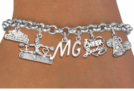 <Br>              EXCLUSIVELY OURS!!<Br>        AN ALLAN ROBIN DESIGN!!<Br>             LEAD & NICKEL FREE!! <BR>THIS IS A PERSONALIZED ITEM <Br>W19745B - SILVER TONE CHEER <BR>     THEMED SIX CHARM BRACELET <BR>    WITH PERSONALIZED INITIALS <BR>     FROM $9.44 TO $18.75  �2012