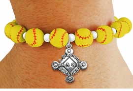 "<Br>                  EXCLUSIVELY OURS!!<Br>            AN ALLAN ROBIN DESIGN!!<Br>                 LEAD & NICKEL FREE!! <BR>       THIS IS A PERSONALIZED ITEM <Br>W19768B - YELLOW STRETCH SOFTBALL <BR>   THEMED CHARM BRACELET WITH <BR>""A DIAMOND IS A GIRLS BEST FRIEND"" <BR>   CHARM FROM $6.19 TO $13.75 �2012"