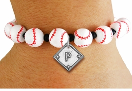 <Br>                  EXCLUSIVELY OURS!!<Br>            AN ALLAN ROBIN DESIGN!!<Br>                 LEAD & NICKEL FREE!! <BR>       THIS IS A PERSONALIZED ITEM <Br>W19776B - WHITE STRETCH BASEBALL <BR>THEMED CHARM BRACELET WITH YOUR <BR>   TEAM POSITION ON BALL DIAMOND <BR>        FROM $6.19 TO $13.75 �2012