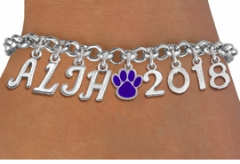 <Br>                   EXCLUSIVELY OURS!!<Br>             AN ALLAN ROBIN DESIGN!!<Br>                  LEAD & NICKEL FREE!! <BR>        THIS IS A PERSONALIZED ITEM <Br> W20094B - SILVER TONE LOBSTER CLASP <BR>    CUSTOM CHARM BRACELET WITH YOUR <BR>JUNIOR HIGH INITIALS, PAW AND YEAR <BR>         FROM $9.56 TO $21.25 �2013