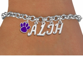 <Br>                    EXCLUSIVELY OURS!!<Br>              AN ALLAN ROBIN DESIGN!!<Br>                   LEAD & NICKEL FREE!! <BR>         THIS IS A PERSONALIZED ITEM <Br>  W20096B - SILVER TONE LOBSTER CLASP <BR>     CUSTOM CHARM BRACELET WITH YOUR <BR>  JUNIOR HIGH INITIALS, AND COLOR PAW <BR>          FROM $6.19 TO $13.75 �2013