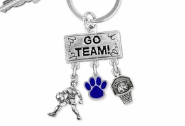 "<Br>                EXCLUSIVELY OURS!! <Br>           AN ALLAN ROBIN DESIGN!! <Br>              LEAD & NICKEL FREE!! <BR>       THIS IS A PERSONALIZED ITEM <Br> W20125KC - SILVER TONE ""GO TEAM!"" <BR> PLAYER, COLOR PAW AND HOOP CHARMS <BR> WOMENS BASKETBALL THEMED KEY RING <BR>         FROM $6.41 TO $14.25 �2013"