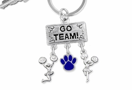 "<Br>                  EXCLUSIVELY OURS!! <Br>             AN ALLAN ROBIN DESIGN!! <Br>                LEAD & NICKEL FREE!! <BR>         THIS IS A PERSONALIZED ITEM <Br>   W20144KC - SILVER TONE ""GO TEAM!"" <BR>   CHEERLEADING THEMED KEY RING WITH <BR>    COLOR PAW PRINT AND CHEERLEADERS <BR>           FROM $6.41 TO $14.25 �2013"
