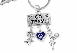 "<Br>                  EXCLUSIVELY OURS!! <Br>             AN ALLAN ROBIN DESIGN!! <Br>                LEAD & NICKEL FREE!! <BR>         THIS IS A PERSONALIZED ITEM <Br>   W20145KC - SILVER TONE ""GO TEAM!"" <BR>   CHEERLEADING THEMED KEY RING WITH <BR> COLOR PAW PRINT HEART & CHEERLEADERS <BR>           FROM $6.41 TO $14.25 �2013"