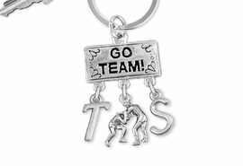 "<Br>                EXCLUSIVELY OURS!! <Br>           AN ALLAN ROBIN DESIGN!! <Br>              LEAD & NICKEL FREE!! <BR>       THIS IS A PERSONALIZED ITEM <Br> W20160KC - SILVER TONE ""GO TEAM!"" <BR>    WRESTLING THEMED KEY RING WITH <BR> WRESTLERS CHARM AND CUSTOM INITIALS <BR>        FROM $6.41 TO $14.25 �2013"