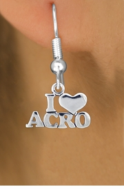 """<bR> EXCLUSIVELY OURS!!<BR> AN ALLAN ROBIN DESIGN!!<BR> LEAD & NICKEL FREE!!<BR> W1081SE - """"I LOVE ACRO""""<Br>CHARM EARRINGS FOR $3.25"""