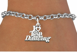 <bR> EXCLUSIVELY OURS!!<BR> AN ALLAN ROBIN DESIGN!!<BR> LEAD & NICKEL FREE!!<BR> W1106SB - I HEART TAP DANCING <Br>  CHARM BRACELET FOR $4.15