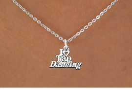 """<bR> EXCLUSIVELY OURS!!<BR> AN ALLAN ROBIN DESIGN!!<BR> LEAD & NICKEL FREE!!<BR> W1106SN - """"I HEART TAP DANCING""""<Br> CHARM NECKLACE FOR $4.55"""