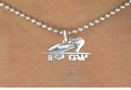 "<bR> EXCLUSIVELY OURS!!<BR> AN ALLAN ROBIN DESIGN!!<BR> LEAD & NICKEL FREE!!<BR> W1108SN - ""I HEART TAP""<Br> CHARM NECKLACE FOR $4.55"