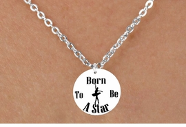 """<bR> EXCLUSIVELY OURS!!<BR> AN ALLAN ROBIN DESIGN!!<BR> LEAD & NICKEL FREE!!<BR> W1128SN - """"BORN TO BE A STAR"""" BALLET <Br>CHARM CHILDRENS NECKLACE <Br>   FOR $4.55"""