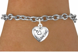 "<bR> EXCLUSIVELY OURS!!<BR> AN ALLAN ROBIN DESIGN!!<BR> LEAD & NICKEL FREE!!<BR>W1180SB - ""I LOVE DANCING"" <BR> HEART CHARM BRACELET FOR $4.15"