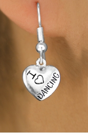 "<bR> EXCLUSIVELY OURS!!<BR> AN ALLAN ROBIN DESIGN!!<BR> LEAD & NICKEL FREE!!<BR>W1180SE - ""I LOVE DANCING"" HEART <Br>CHARM EARRINGS FOR $3.25"