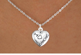 "<bR> EXCLUSIVELY OURS!!<BR> AN ALLAN ROBIN DESIGN!!<BR> LEAD & NICKEL FREE!!<BR>W1180SN - ""I LOVE DANCING"" HEART <Br>CHARM NECKLACE FOR $4.55"