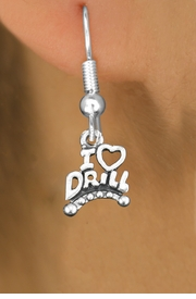 """<bR> EXCLUSIVELY OURS!!<BR> AN ALLAN ROBIN DESIGN!!<BR> LEAD & NICKEL FREE!!<BR>W1181SE - """"I LOVE DRILL"""" <Br>CHARM EARRINGS FOR $3.25"""