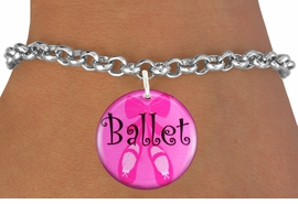 "<bR> EXCLUSIVELY OURS!!<BR> AN ALLAN ROBIN DESIGN!!<BR> LEAD & NICKEL FREE!!<BR>W1228SB - PINK ""BALLET"" SHOES <BR> CHARM BRACELET FOR $4.15"