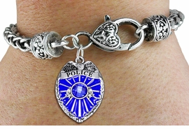 <bR>                   EXCLUSIVELY OURS!!<BR>             AN ALLAN ROBIN DESIGN!!<BR>                 LEAD & NICKEL FREE!!<BR>W1329SB - DETAILED POLICE BADGE <BR>WITH BLUE CRYSTAL CHARM  <BR>    ON HEART LOBSTER CLASP BRACELET <Br>         FROM $5.63 TO $12.50 �2012
