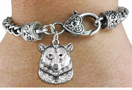 <bR>                   EXCLUSIVELY OURS!!<BR>             AN ALLAN ROBIN DESIGN!!<BR>                 LEAD & NICKEL FREE!!<BR>W1351SB3 - DETAILED GRIZZLY BEAR <BR>WITH CLEAR CRYSTALS CHARM  <BR>    ON HEART LOBSTER CLASP BRACELET <Br>         FROM $5.63 TO $12.50 �2012