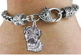 <bR>                   EXCLUSIVELY OURS!!<BR>             AN ALLAN ROBIN DESIGN!!<BR>                 LEAD & NICKEL FREE!!<BR>W1356SB - DETAILED BULLDOG HEAD <BR> WITH CLEAR CRYSTALS CHARM  <BR>    ON HEART LOBSTER CLASP BRACELET <Br>         FROM $5.63 TO $12.50 �2012