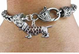 <bR>                   EXCLUSIVELY OURS!!<BR>             AN ALLAN ROBIN DESIGN!!<BR>                 LEAD & NICKEL FREE!!<BR>W1357SB - DETAILED DASCHSHUND <BR> WITH CLEAR CRYSTALS CHARM  <BR>    ON HEART LOBSTER CLASP BRACELET <Br>         FROM $5.63 TO $12.50 �2012