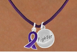 "<BR>              ""EXCLUSIVELY OURS""<bR>          AN ALLAN ROBIN DESIGN<Br>             LEAD & NICKEL FREE!!<Br> W13640N - PURPLE AWARENESS<Br>RIBBON & ""FIGHTER"" CIRCLE ON A<Br>         PURPLE SUEDE NECKLACE<Br>                  AS LOW AS $4.15"