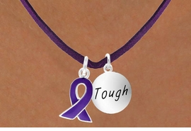 "<BR>              ""EXCLUSIVELY OURS""<bR>          AN ALLAN ROBIN DESIGN<Br>            LEAD & NICKEL FREE!!<Br>W13642N - PURPLE AWARENESS<Br>RIBBON & ""TOUGH"" CIRCLE ON A<Br>        PURPLE SUEDE NECKLACE<Br>                 AS LOW AS $4.15"