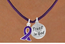 "<BR>              ""EXCLUSIVELY OURS""<bR>          AN ALLAN ROBIN DESIGN<Br>             LEAD & NICKEL FREE!!<Br>  W13646N - PURPLE AWARENESS<Br>RIBBON & ""TRUST IN GOD"" CIRCLE<Br>   ON A PURPLE SUEDE NECKLACE<Br>                  AS LOW AS $4.15"