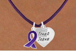 "<BR>              ""EXCLUSIVELY OURS""<bR>          AN ALLAN ROBIN DESIGN<Br>             LEAD & NICKEL FREE!!<Br> W13647N - PURPLE AWARENESS<Br>RIBBON & ""TRUST JESUS"" HEART<Br>  ON A PURPLE SUEDE NECKLACE<Br>                  AS LOW AS $4.15"