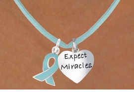 "<BR>              ""EXCLUSIVELY OURS""<bR>          AN ALLAN ROBIN DESIGN<Br>             LEAD & NICKEL FREE!!<Br>    W13664N - TEAL AWARENESS<Br>   RIBBON & ""EXPECT MIRACLES""<Br>HEART ON TEAL SUEDE NECKLACE<Br>                   AS LOW AS $4.15"