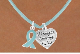 "<BR>              ""EXCLUSIVELY OURS""<bR>          AN ALLAN ROBIN DESIGN<Br>            LEAD & NICKEL FREE!!<Br>   W13665N - TEAL AWARENESS<Br>RIBBON & ""STRENGTH COURAGE<Br> FAITH"" HEART ON A TEAL SUEDE<Br>      NECKLACE AS LOW AS $4.15"