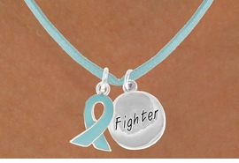"<BR>              ""EXCLUSIVELY OURS""<bR>          AN ALLAN ROBIN DESIGN<Br>         LEAD & NICKEL FREE!!<Br>W13666N - TEAL AWARENESS<Br> RIBBON & ""FIGHTER"" HEART<Br> ON A TEAL SUEDE NECKLACE<Br>              AS LOW AS $4.15"