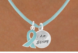 "<BR>              ""EXCLUSIVELY OURS""<bR>          AN ALLAN ROBIN DESIGN<Br>            LEAD & NICKEL FREE!!<Br>    W13667N - TEAL AWARENESS<Br>RIBBON & ""I AM STRONG"" CIRCLE<Br>     ON A TEAL SUEDE NECKLACE<Br>                 AS LOW AS $4.15"