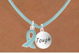 "<BR>        ""EXCLUSIVELY OURS""<bR>    AN ALLAN ROBIN DESIGN<Br>         LEAD & NICKEL FREE!!<Br>W13668N - TEAL AWARENESS<Br>  RIBBON & ""TOUGH"" CIRCLE<Br>  ON A TEAL SUEDE NECKLACE<Br>              AS LOW AS $4.15"