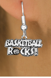 "<bR>                    EXCLUSIVELY OURS!! <BR>               AN ALLAN ROBIN DESIGN!!<BR>                    LEAD & NICKEL FREE!! <BR>       W1377SB - ""BASKETBALL ROCKS"" <BR>        S ILVER TONE CHARM EARRINGS <Br>             FROM $4.50 TO $8.35 �2012"