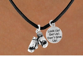 "<BR>        ""EXCLUSIVELY OURS""<bR>    AN ALLAN ROBIN DESIGN<Br>        LEAD & NICKEL FREE!!<Br>W13839N - ""DON'T GIVE UP!""<br>& BOXING GLOVES NECKLACE<br>             AS LOW AS $4.50"