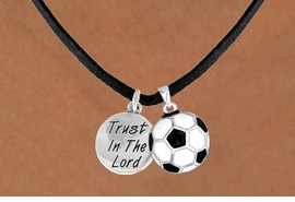 "<BR>            ""EXCLUSIVELY OURS""<bR>        AN ALLAN ROBIN DESIGN<Br>           LEAD & NICKEL FREE!!<Br>W13840N - ""TRUST IN THE LORD""<br>      & SOCCER BALL NECKLACE<br>                AS LOW AS $4.50"