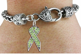 <bR>                   EXCLUSIVELY OURS!! <BR>               AN ALLAN ROBIN DESIGN!! <BR>                   LEAD & NICKEL FREE!! <BR> W1388SB - CRYSTAL LIME GREEN AWARENESS <BR>     RIBBON CHARM ON HEART SHAPED <BR>           LOBSTER CLASP BRACELET <Br>           FROM $5.63 TO $12.50 �2013