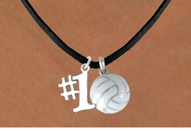 "<BR>     ""EXCLUSIVELY OURS""<bR> AN ALLAN ROBIN DESIGN<Br>     LEAD & NICKEL FREE!!<Br>  W13904N - ""#1"" CHARM<br>& VOLLEYBALL NECKLACE<br>           AS LOW AS $4.50"